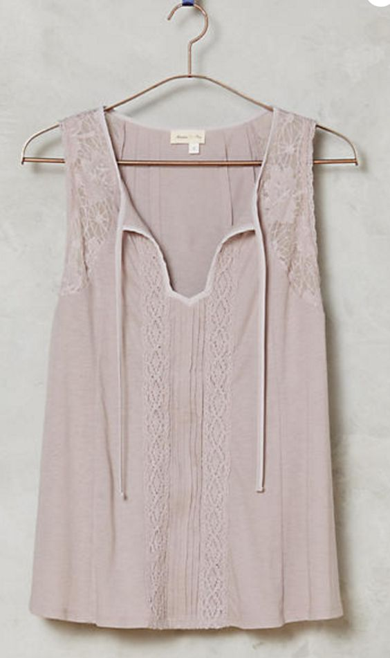 Simple Lace Tie-Neck Tank in Pale Mauve