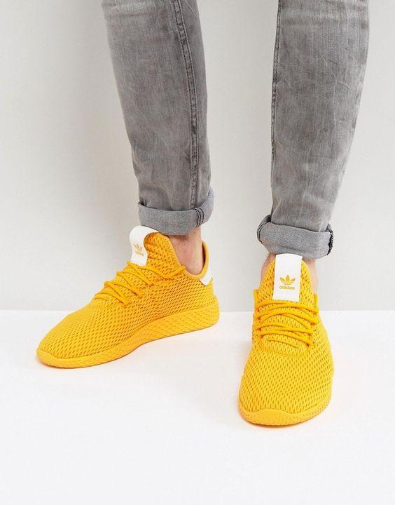 adidas Originals x Pharrell Williams Tennis HU Sneakers In Yellow ...