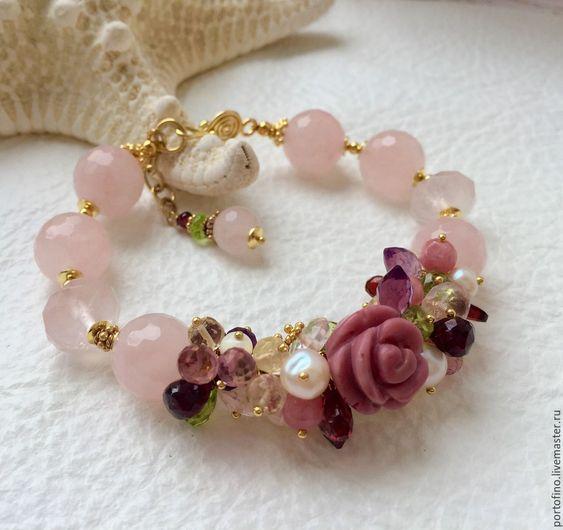 """Купить Браслет из позолоченного серебра """"Райский сад"""" - бледно-розовый, розовый браслет, розы"""