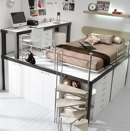Decoraci n camas elevadas buscar con google cama for Habitaciones con camas altas