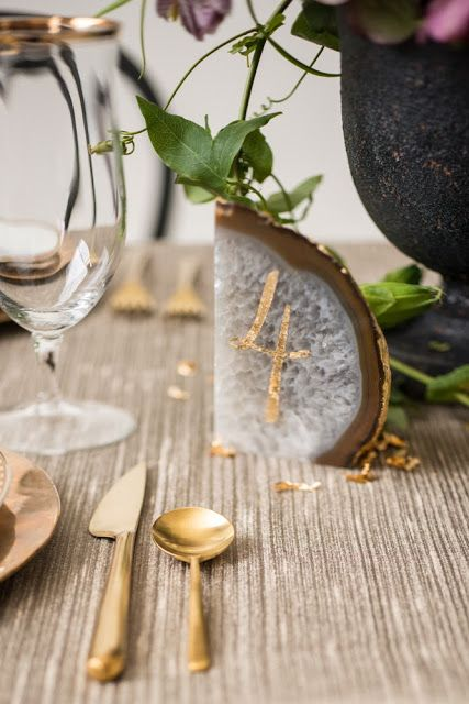 Honey of a Thousand Flowers - Geode and gold leaf table number by Sarah Winward and Print in Cursive, photo by Barrett Doran