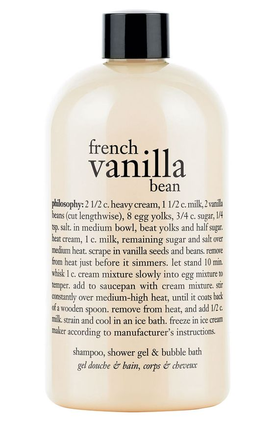 Love everything vanilla | Philosophy french vanilla bean shampoo, shower gel & bubble bath.