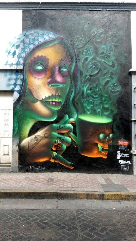 Mural de Grafitti Día de Muertos, Calle Independencia y Pavo, Guadalajara, México.