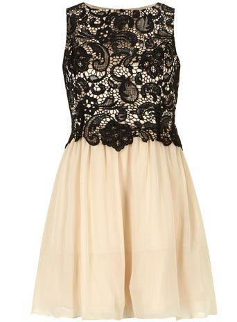 2-in-1-Kleid mit Spitze in Schwarz und Creme