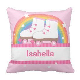 Rainbow Roller Skates Girls Room Decor Throw Pillow