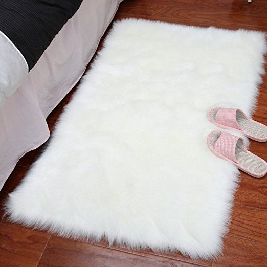 Lochas Stylish Ultra Soft Silky Fluffy Shag Faux Sheepskin Area Rug Rugs For Living Room Bedroom Nursery Floor Fluffy Rug White Faux Fur Rug Faux Sheepskin Rug