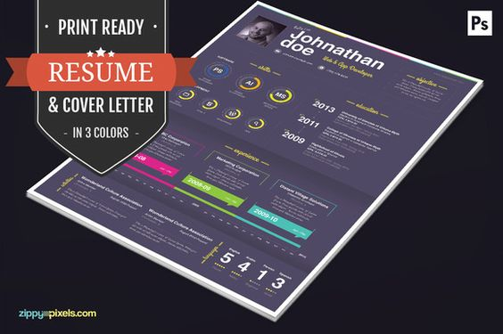 Print Ready CV/Cover Letter Template Cool resumes, Beautiful and