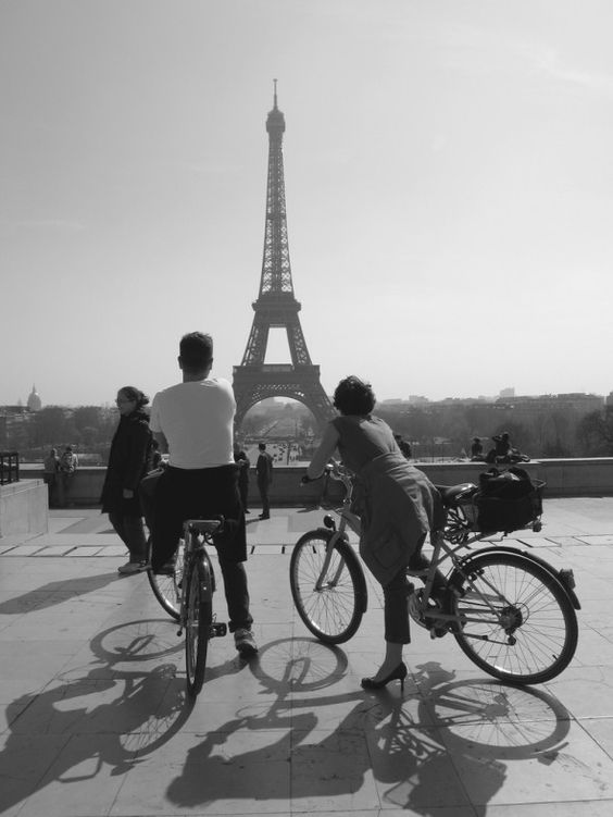 Paris by bike in black and white