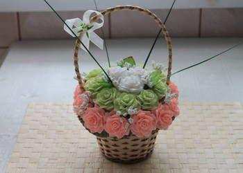 kompozycje kwiatowe rękodzieło kwiaty z krepiny