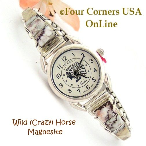 Wild (Crazy) Horse Magnesite Inlay Watches by Navajo Steve Francisco Four Corners USA OnLine Native American Jewelry