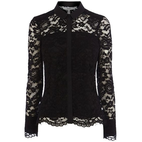 Coast Adelia Lace Blouse, Black ($91) ❤ liked on Polyvore ...