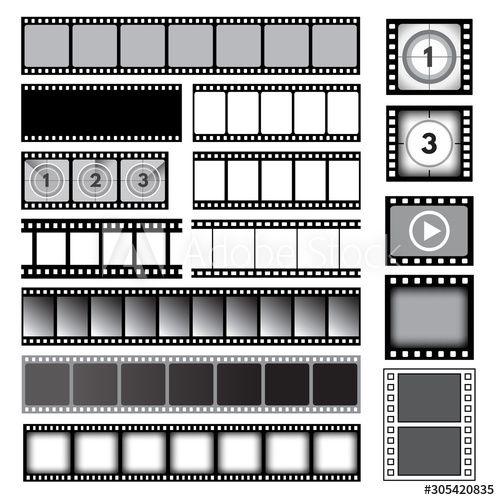 Movie Tape 35mm Photo Strip Film Camera Frames Picture Vector Collection Cinema Reel Frame Template Photo Strip I In 2020 Frame Template Camera Frame Picture Frames