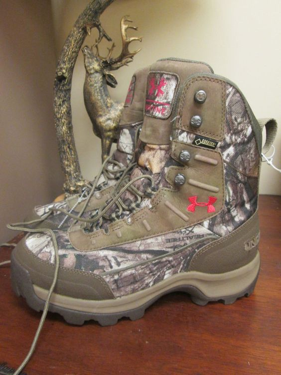 NEW Under Armour Brow Tine 400g Camo Hunt Boots REALTREE Womens PINK SIZE 8 #UnderArmour