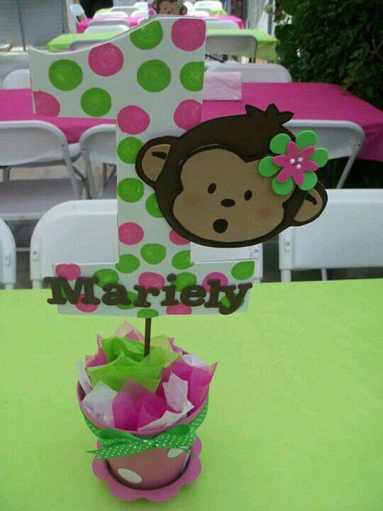 Mod monkey pink n green centerpiece