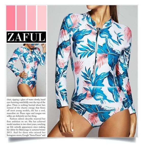 """Feather Print Long Sleeve One Piece Swimwear"" by larissa-takahassi ❤ liked on Polyvore"