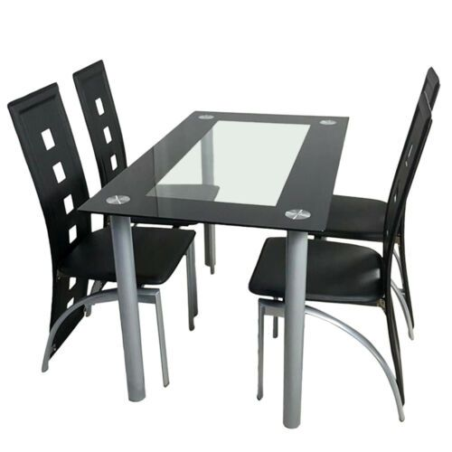 5 Piece Tempered Glass Dining Table And Chairs Set Kitchen