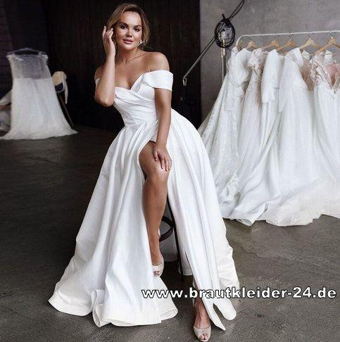 Standesamt Mode Schulterfreies Satin Kleid Elegant In Weiss Standesamtkleid Brautkleider Und Accessoires In 2020 Brautkleid Stoff Kleid Hochzeit Schlitz Brautkleid