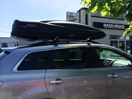 Mazda Cx 9 With A Thule 626 Xxl Force Cargo Box Car Rack