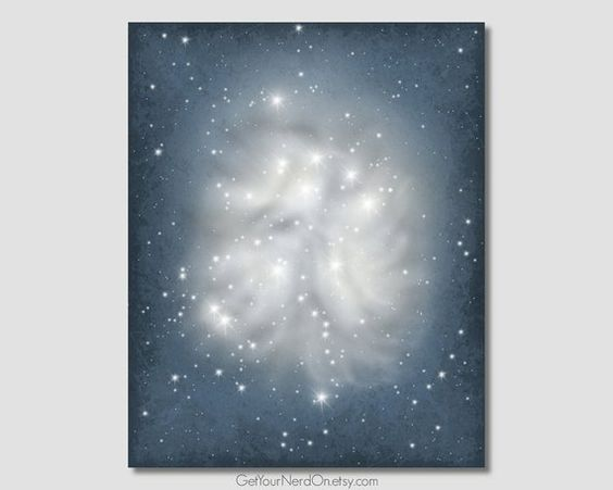 Pleiades Art Print Astronomy Decor Outer Space Posters Space Geek Gift Idea Nerdy Office Decor Gifts Name Wall Art Art Prints Astronomy