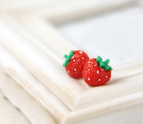 Earings! Strawberry Festival! $2.36  Pair of Sweet Cute Fruit Vegetable Shape Decorated Earrings