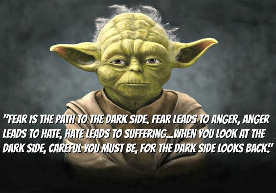 """When you look at the dark side, careful you must be, for the dark side looks back."" ~ Yoda"