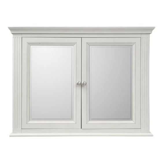 Edison Vintage Timber 2 Door Wall Mount Medicine Cabinet Shaving Mirror -  White in Home u0026