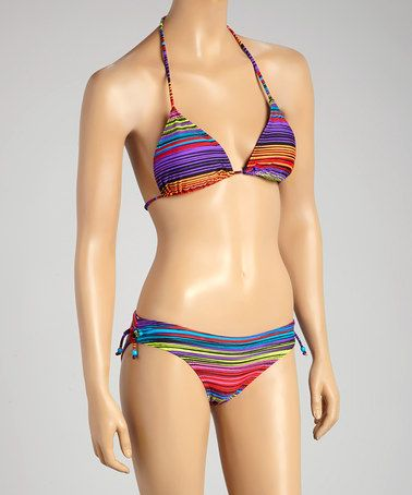 Look what I found on #zulily! Orange & Purple Variegated Stripe Bead Bikini - Women #zulilyfinds