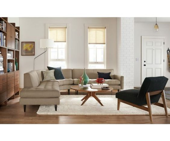 Living - Room & Board: black chairs with tan couch
