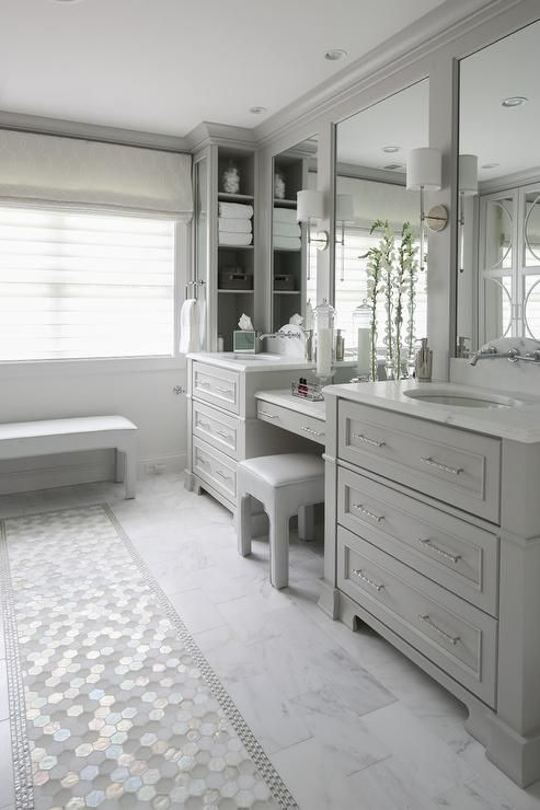 White And Gray Hex Glass Tiles Accent White Marble Staggered Floor Tiles In An Beautiful L Master Bathroom Layout Light Grey Bathrooms Bathroom Interior Design