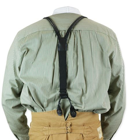 Braided Leather Suspenders - Black