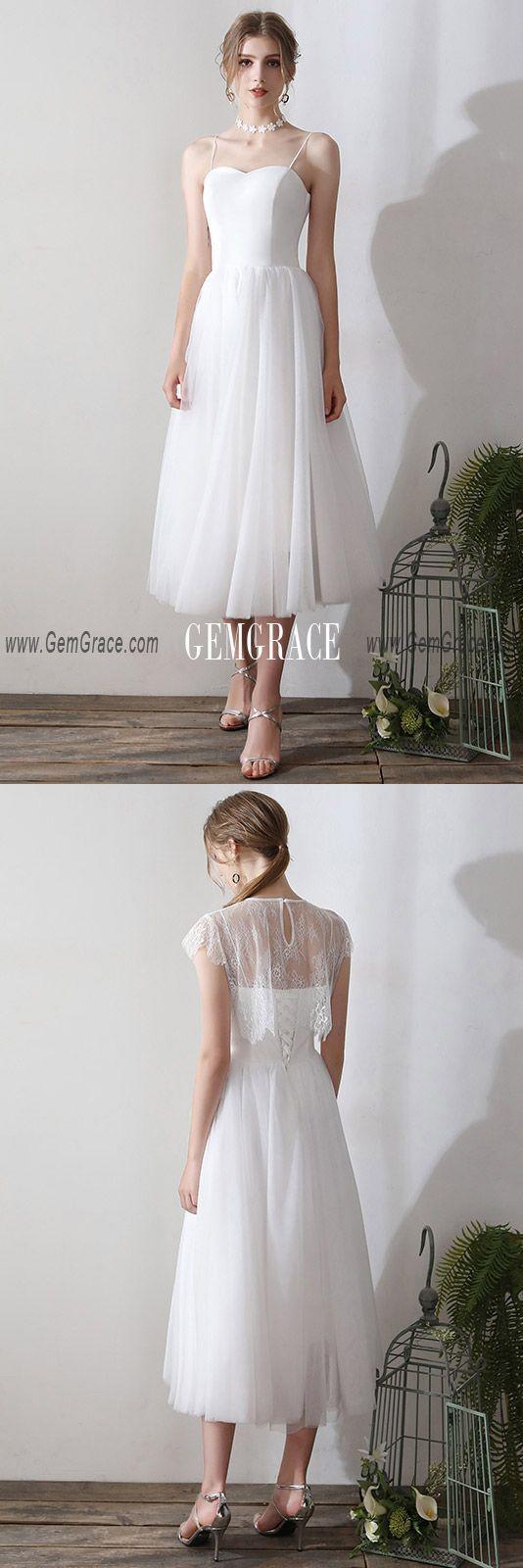 128 90 Vintage Tea Length Tulle Wedding Dress With Lace Top Ys609 Gemgrace Com Simple Lace Dress Tulle Wedding Dress Simple Wedding Dress Short [ 1600 x 534 Pixel ]