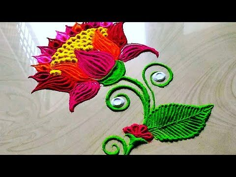 Very Easy Louts Flowers Rangoli Design For Lakshami Festival S Youtube Rangoli Designs Sanskar Bharti Rangoli Designs Beautiful Rangoli Designs