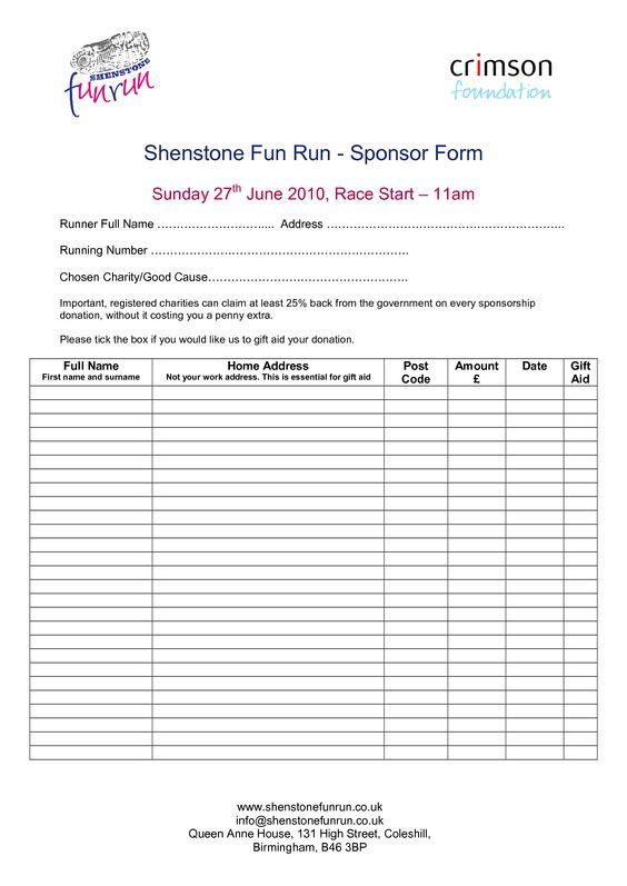 Sponsorship Order Form Template Fun Run Registration Form Template - charity sponsorship form template