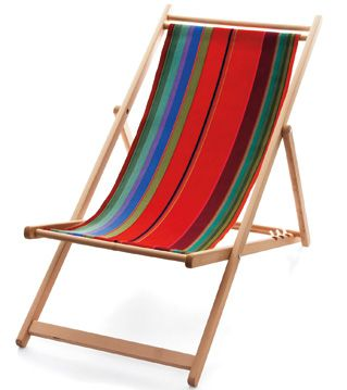 "Les Toiles du Soleil's Ara deck chair, featuring the company's signature stripes, brings style to the beach. The adjustable beechwood frame measures 54"" l. x 20"" w. and comes with a sling of cotton or Sunbrella fabric in a range of colorways."