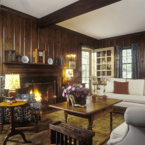 Traditional Living Room With Dark Wood Paneled Walls