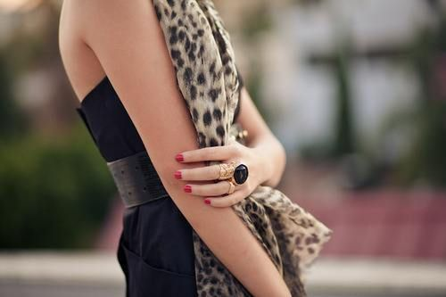 leopard and red nails
