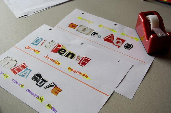Really fun idea for prefixes/suffixes/vocabulary!