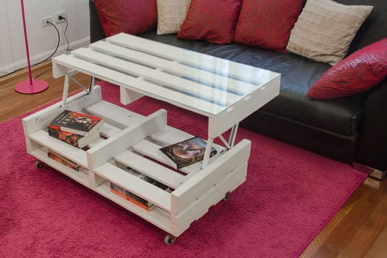 Table basse relevable pinterest tables interieur et - Table salon palette ...