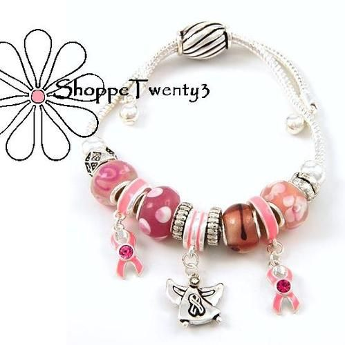 Pink Ribbon Bracelet Breast Cancer Awareness Arm Candy Bead Charm New & Boxed