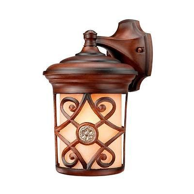Hampton Bay Wall-Mount 1-Light Outdoor Berre Walnut Lantern