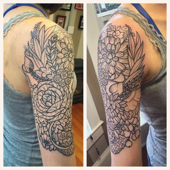 Flowers upon flowers! It's her wedding bouquet made into a half sleeve. Thanks Jessica! :) #tat #tattoos #tattooed #tattooart #tattoolove #tattoodesign #tattooartists #tattooedwomen #tattoostagram #lynntattoos #linework #flowers #floral #flowertattoos #girlytattoos #portland #portlandart #portlandtattoos #pdx #pdxart #pdxtattoos #pdxtattooers #portlandtattooers #mutinypdx @mutinypdx