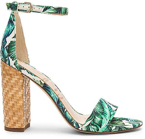 Sam Edelman Yaro Sandal Heels Jade Multi Palm Print Heeled Sandals High Heel Sandals High Heels With Palm Leaf Pr Green Heels Sam Edelman Heels Bride Shoes