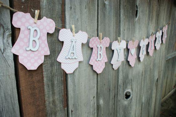Girl Baby Shower Banner Baby Girl Onesie Banner Girl Onesie Banner