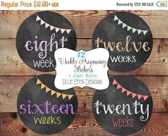 ON SALE Weekly Pregnancy Stickers,Pregnancy Stickers,Chalkboard Pregnancy Stickers,Pregnancy Announcement,Pregnancy Reveal,Belly Bump Sticke by blueeyesdesigns27 on Etsy https://www.etsy.com/listing/185297929/on-sale-weekly-pregnancy