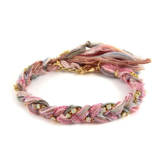 Gold Braided Vintage Seashell Ribbon and Rhinestone Crystal Bracelet   #beach #surfer #spring  #boho #ettika #jewelry #accessories