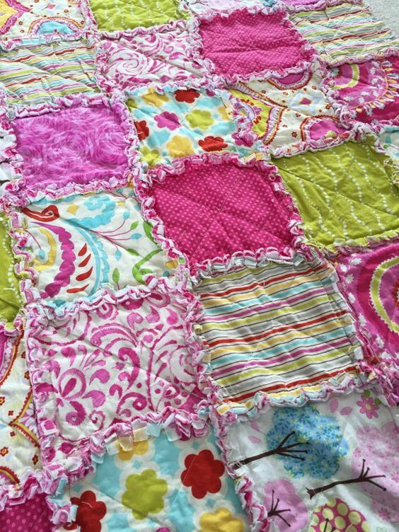 Baby Girl Rag Quilt by MSYdesigns on Etsy