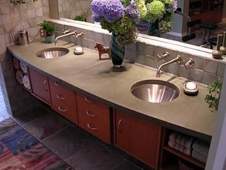 concrete bathroom counter tops | Kitchen Concrete Countertops | Custom Engraved Concrete #banheiro #bancada
