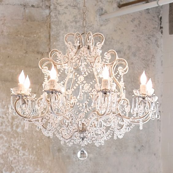 classic shabby chic chandelier you can do it yourself by finding an old brass crystal. Black Bedroom Furniture Sets. Home Design Ideas