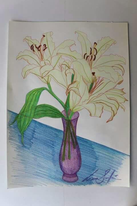 Lirios en la mesa. Lapices de color sobre papel. 42x29 cm . Disponible ART, DRAWING, PAINTING, FLOWERS