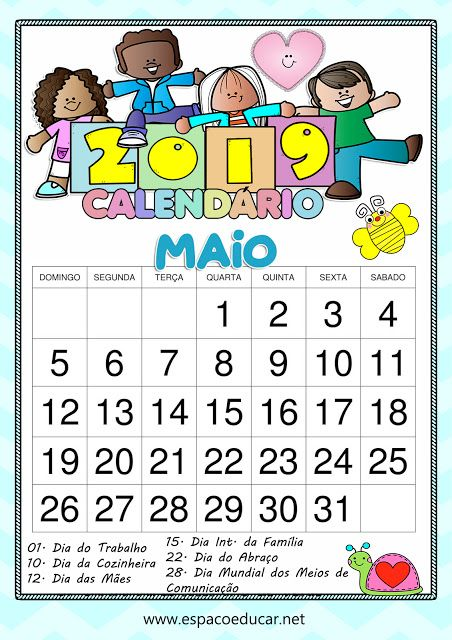 Calendario Maio De 2019 Com Feriados E Datas Comemorativas Para